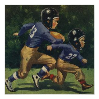 Vintage Sports, Boys Play Football Birthday Party Card