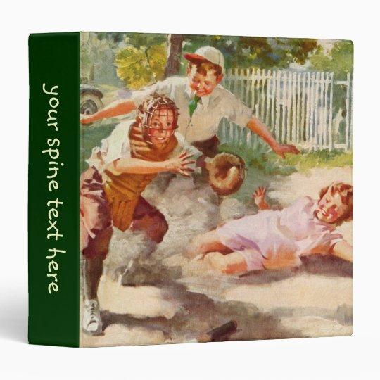 Vintage Sports, Children Playing Baseball 3 Ring Binder