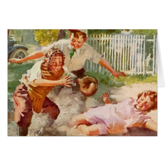 Vintage Sports, Children Playing Baseball Card