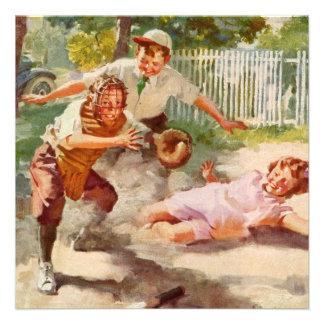 Vintage Sports Children Playing Baseball Invitation
