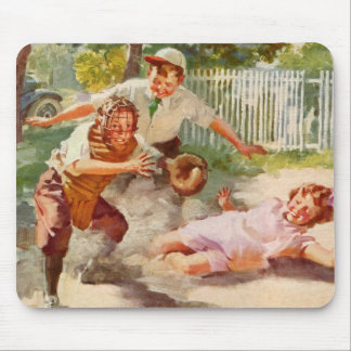 Vintage Sports, Children Playing Baseball Mouse Pad
