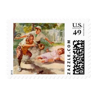 Vintage Sports, Children Playing Baseball Postage Stamp