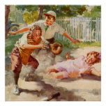 Vintage Sports, Children Playing Baseball Poster