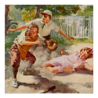 Vintage Sports, Children Playing Baseball Posters