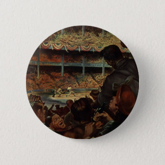 Vintage Sports Fans in a Baseball Stadium Button