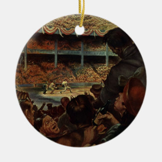 Vintage Sports Fans in a Baseball Stadium Ceramic Ornament