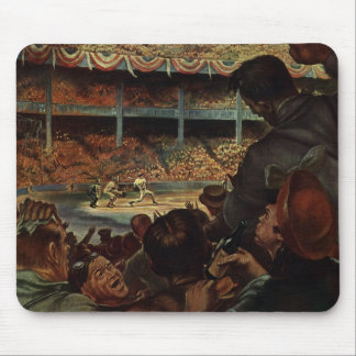 Vintage Sports Fans in a Baseball Stadium Mouse Pad