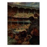 Vintage Sports Fans in a Baseball Stadium Poster