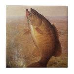 Vintage Sports Fishing, Largemouth Brown Bass Lake Ceramic Tiles