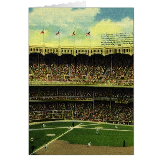 Vintage Sports, Flags and Fans in Baseball Stadium Card