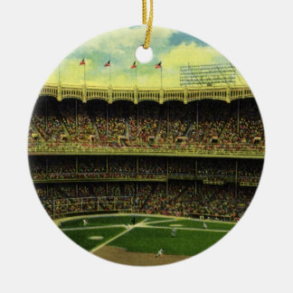 Vintage Sports, Flags and Fans in Baseball Stadium Ceramic Ornament
