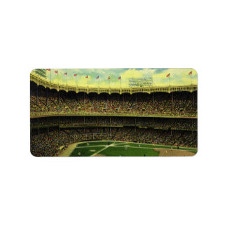 Vintage Sports, Flags and Fans in Baseball Stadium Label