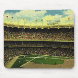 Vintage Sports, Flags and Fans in Baseball Stadium Mouse Pad