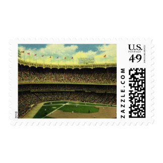 Vintage Sports, Flags and Fans in Baseball Stadium Postage Stamp