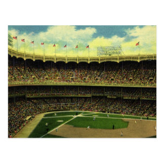 Vintage Sports, Flags and Fans in Baseball Stadium Postcard