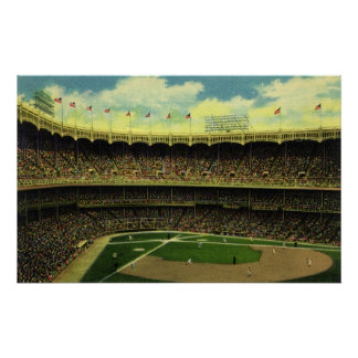 Vintage Sports, Flags and Fans in Baseball Stadium Poster