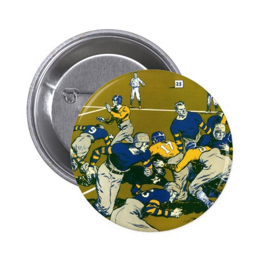 Vintage Sports Football Game, Blue vs Gold Teams Button