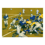 Vintage Sports Football Game, Blue vs Gold Teams Personalized Invitation