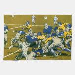 Vintage Sports Football Game, Blue vs Gold Teams Kitchen Towel