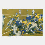 Vintage Sports Football Game, Blue vs Gold Teams Hand Towel