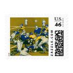 Vintage Sports Football Game, Blue vs Gold Teams Postage Stamps