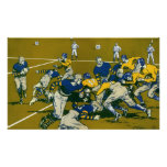 Vintage Sports Football Game, Blue vs Gold Teams Print