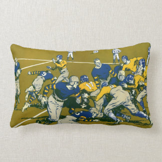 Vintage Sports Football Game, Blue vs Gold Teams Throw Pillow