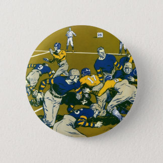 Vintage Sports Football Game, Gold vs. Blue Teams Button