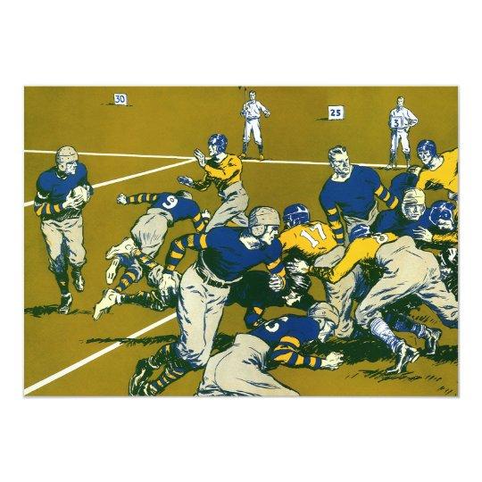 Vintage Sports Football Game, Gold vs. Blue Teams Card