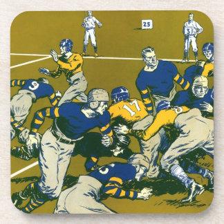 Vintage Sports Football Game, Gold vs. Blue Teams Coaster