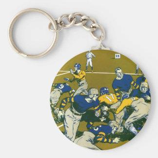 Vintage Sports Football Game, Gold vs. Blue Teams Keychain