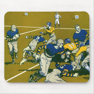 Vintage Sports Football Game, Gold vs. Blue Teams Mouse Pad