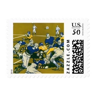 Vintage Sports Football Game, Gold vs. Blue Teams Postage