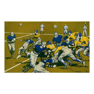 Vintage Sports Football Game, Gold vs. Blue Teams Poster