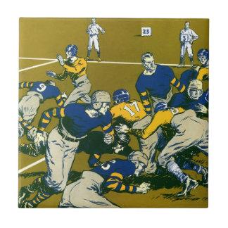 Vintage Sports Football Game, Gold vs. Blue Teams Tile