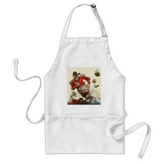 Vintage Sports Football Player and Bulldog Mascot Adult Apron