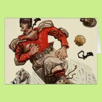 Vintage Sports Football Player and Bulldog Mascot Card