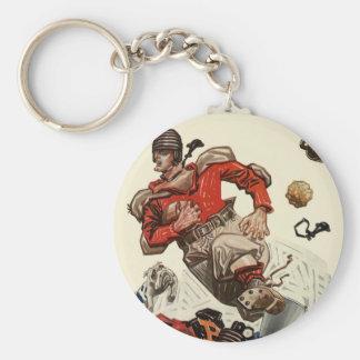 Vintage Sports Football Player and Bulldog Mascot Keychain
