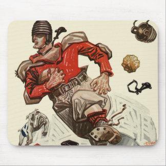 Vintage Sports Football Player and Bulldog Mascot Mouse Pad