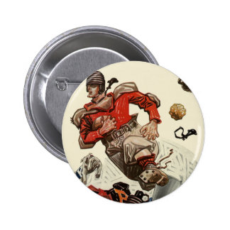 Vintage Sports Football Player and Bulldog Mascot Pinback Button