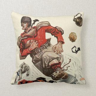 Vintage Sports Football Player and Bulldog Mascot Throw Pillow