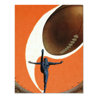 Vintage Sports, Football Player Kicking Ball 4.25x5.5 Paper Invitation Card