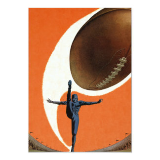 "Vintage Sports, Football Player Kicking Ball 5"" X 7"" Invitation Card"