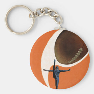 Vintage Sports, Football Player Kicking Ball Basic Round Button Keychain