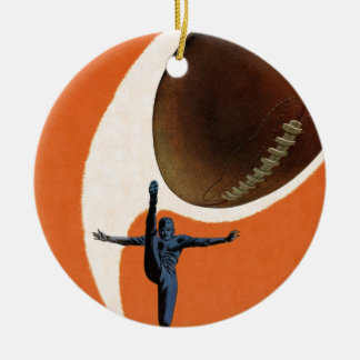 Vintage Sports, Football Player Kicking Ball Double-Sided Ceramic Round Christmas Ornament