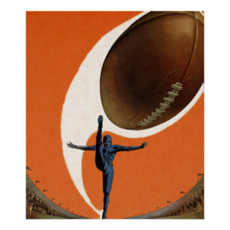 Vintage Sports, Football Player Kicking Ball Poster