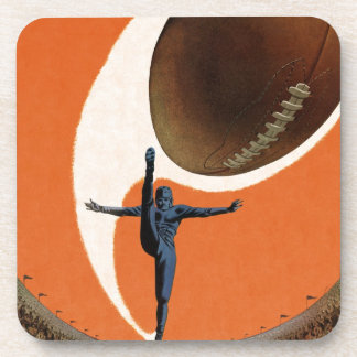 Vintage Sports, Football Player Kicking the Ball Coaster