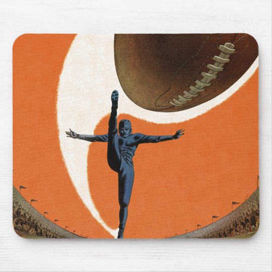 Vintage Sports, Football Player Kicking the Ball Mouse Pad