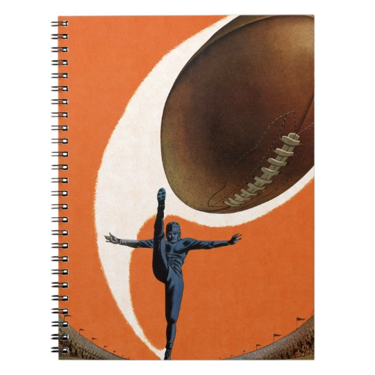 Vintage Sports, Football Player Kicking the Ball Notebook