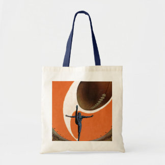Vintage Sports, Football Player Kicking the Ball Tote Bag